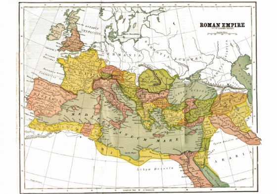Map of the Roman Empire at its Largest Extent, with Provinces, in 150 AD. Print/Poster (4948)